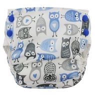 NEW! Blueberry Side Snap Simplex Cotton Birdseye: Blue Owls