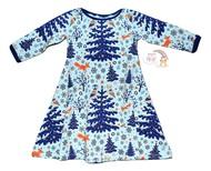 3-4yrs Sweet Agnes Dress: Winter Wonderland