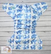 NEW! Alva Baby Onesize Nappy: Blue Elephants