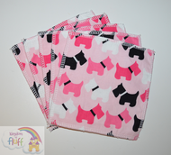 5-Pack Large Washable Wipes: Pink Scotties Towelling