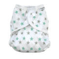 Muslinz Nappy Wrap: Mint Grey Star: Size 1