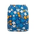 Alva Baby Onesize Nappy: Blue Orange Floral
