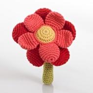Pebble Fair Trade Crochet Flower Rattle - Red