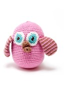 Pebble Fair Trade Crochet Owl Rattle Pink