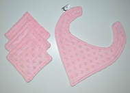Bandana Bib and Wipes Set:  Baby Pink Dotty Plush