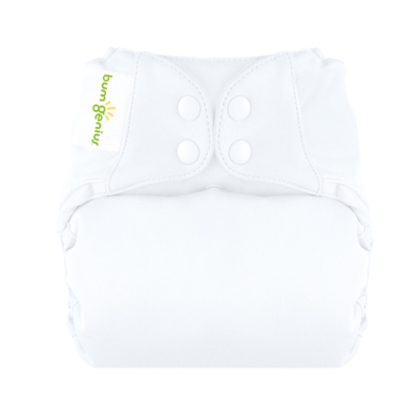 White bumGenius Freetime All-In-One One-Size Snap Closure Cloth Diaper