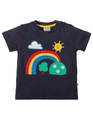 30% OFF! Frugi Little Creature Applique Shirt: Navy Rainbow