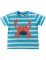 40% OFF! Frugi Little Fal Applique Tshirt: Sky Breton Crab