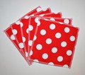 5-Pack Large Washable Wipes: Red Spotty Towelling