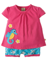 40% OFF! Frugi Kea Smock Top Outfit: Raspberry Sky Starfish