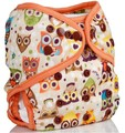 Onesize Nappy Wrap: Owls Orange