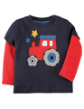 55% OFF! Frugi Little Look Out Applique Top: Tractor 0-3m