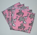 5-Pack Large Washable Wipes: Zebra and Friends Pink