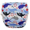 Blueberry Side Snap Simplex Cotton Birdseye: Whales