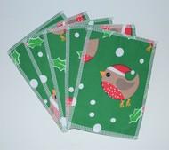 5pk Medium Washable Wipes: Festive Robins