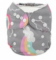 NEW! Alva Onesize Nappy: Grey Rainbows