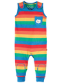 NEW! Frugi Kneepatch Dungaree: Rainbow Stripe