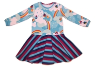 12-18m Circle Dress: Rainbow Birds