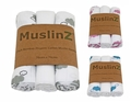 NEW! Muslinz 3pk Bamboo Organic Cotton Muslin Squares: Clouds