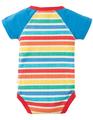50% OFF! Frugi Reggie Raglan Bodysuit: Rainbow Candy Stripe