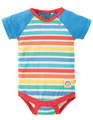 50% OFF! Frugi Reggie Raglan Bodysuit: Rainbow Candy Stripe